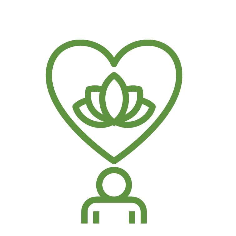 icon of Heart with Lotus leaf over a person
